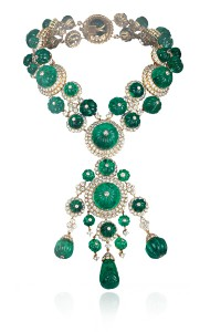 Indian necklace-1970, yellow gold, carved emeralds, diamonds. In the former collection of Her Highness Princess Salimah Aga Khan.