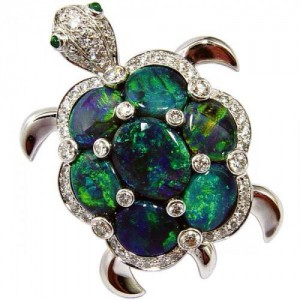 """Luthine"" opal turtoise brooch in 18k white gold with diamonds."
