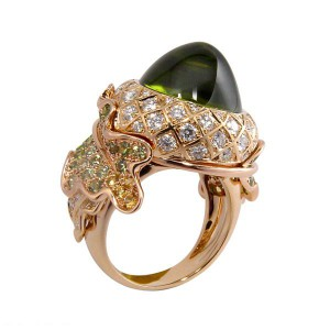 """Chene"" ring with sugarloaf peridot, yellow sapphires, green garnets, diamonds mounted in 18k yellow gold."