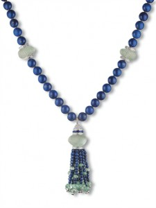 """Lapis"" necklace comprising 48 lapis lazuli beads, spaced by carved green beryls and brilliant cut diamond openwork boules, suspending a larger carved beryl with brilliant-cut diamond cap and a tassel of beryl and lapis lazuli beads mounted in 18k white gold."