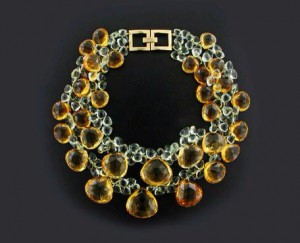 Taffin Citrine , mint amethyst and gold clasp necklace