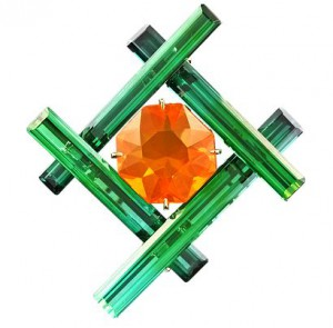Taffin tourmaline crystal and Mexican fire opal brooch.