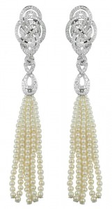 """Entaglement"" earrings in 18k white gold with delicate pearls and diamonds."
