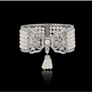 """Tudor Cuff-""""Tudor Rose"""" cuff in 18k white gold with brilliant-cut and rose-cut diamonds"""