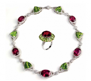 Cassetti necklace and ring set in white gold with rubellites and peridots and diamonds
