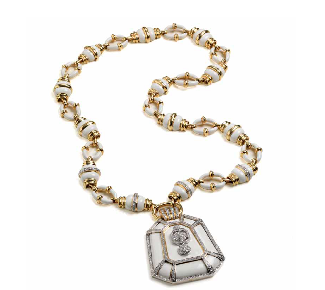 Cassetti necklace set in yellow gold and enamel with diamonds