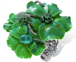 """Amazonia"" bangle set in 18k black rhodium gold with green turquoise, tsavorites, brown diamonds and emerald."