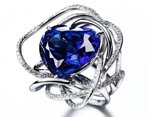 """True Blue"" ring set in 18k white gold with heart-shaped tanzanite and diamonds."