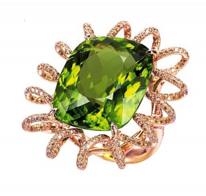 """Fallover Beethoven"" ring set in 18k rose gold with cushion -cut peridot and champagne diamonds."