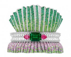 Bar en Corolle emeraude bracelet in 18k white gold, diamonds, pink sapphires, emeralds, demantoides, purple sapphires, tsavorites, orange-pink spinels