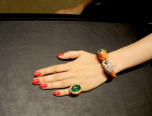 Keisha ring set with Mediterranean coral, carved emerald and brilliant-cut diamonds