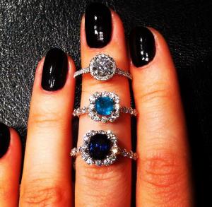 Sasha Primak diamond, emerald, sapphire rings