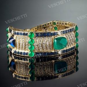 Oriente bracelet set with 11,86ct Colombian emerald cabochon, 12,50ct sugarloaf Ceylon sapphires, sapphires, emeralds, brilliant-cut diamonds