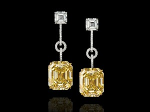 Fancy Intense yellow emerald -cut diamonds earrings, High Jewellery collection