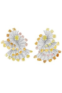 Verticale Plisse yellow diamond earrings in 18k white, yellow, gold, pink gold, diamonds, fancy yellow, fancy orange and fancy pink diamonds
