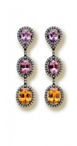 Spinels earrings with diamonds set in blackened gold