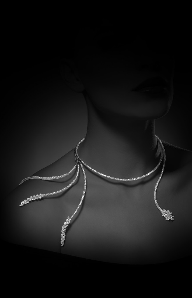 Fountain necklace set in white gold with diamonds from Y-Conic collection, YEPREM Jewellery