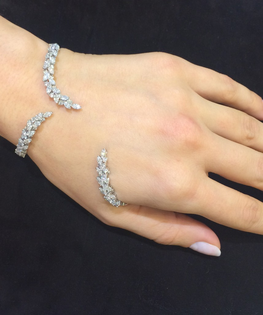 Never Beyond bracelet set in white gold with marquise cut diamonds from Y-Couture collection, YEPREM Jewellery