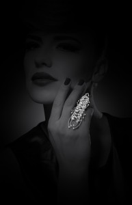 Scorpio ring set in white gold with diamonds from Y-Conic collection, YEPREM Jewellery