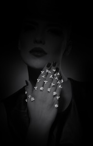 Snowflakes rings set in white gold with diamonds from Y-Conic collection, YEPREM Jewellery
