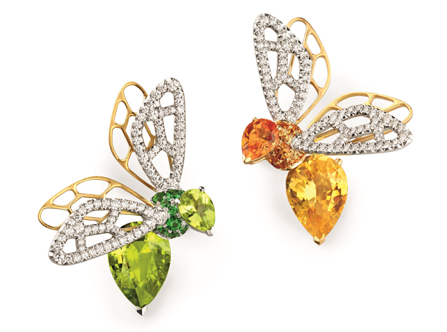 Bees from new High Jewellery collection adorned with mandarin and hessonite garnets, opal, tourmalines, peridots, topazes, yellow sapphires, green beryls, diamonds, Chaumet
