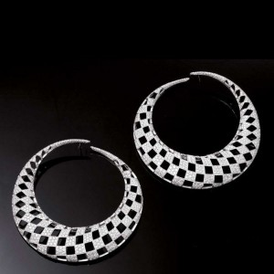 Optical earrings set in white gold with diamonds, Palmiero Jewellery Design
