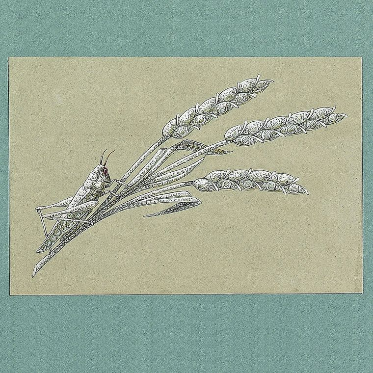 Preparatory sketch of a grasshopper on a sheaf of wheat brooch, Chaumet ca 1890