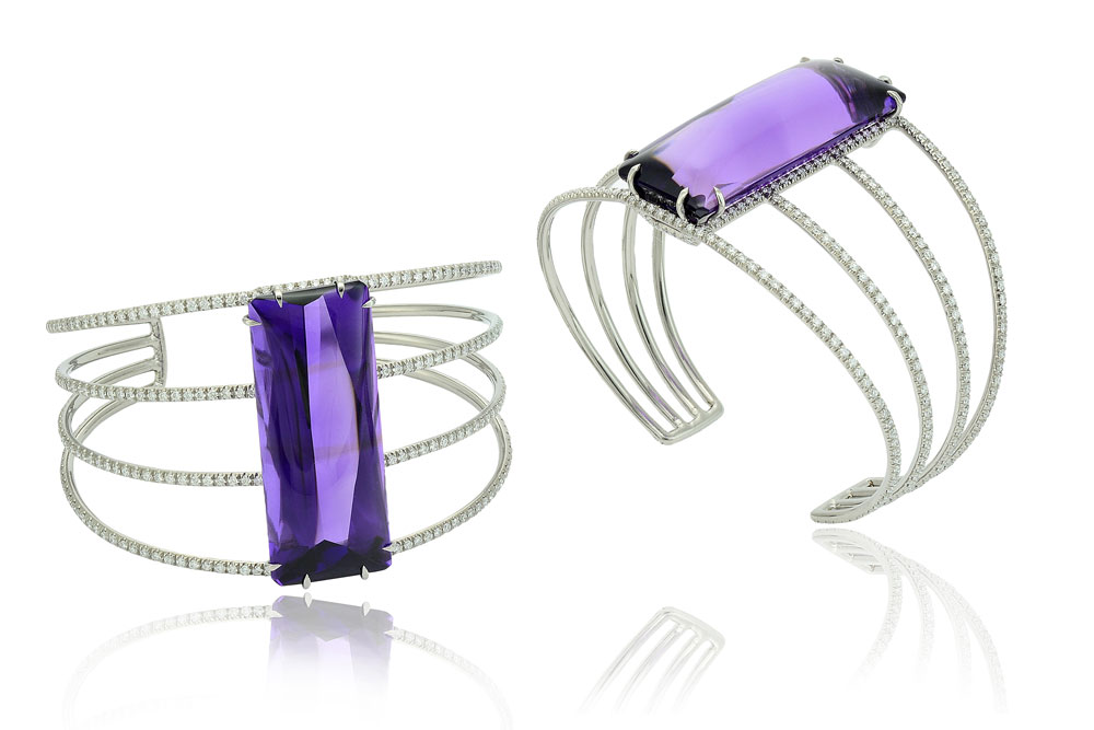 Amethyst bufftop cuff set in titanium with diamonds, Margherita Burgener