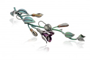 Blooming brooch set in titanium with diamonds, Margherita Burgener