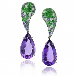 Mix Mix earrings set in white gold with detachable drop cut amethysts, amethysts, sapphires, Margherita Burgener