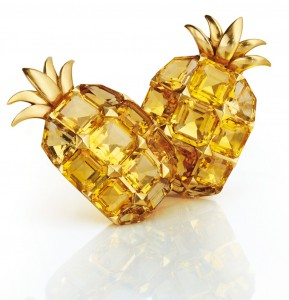 Pineapple clips set in yellow gold with citrines, Suzanne Belperron, 1940. Sold for $63,600 at Christie's Paris June 6 2012