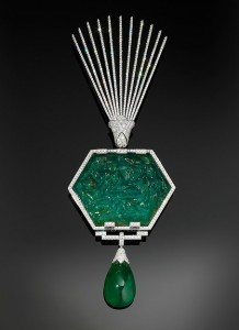 Aigrete in platinum, set with emeralds and diamonds, Cartier, 2012. The Al-Thani Collection