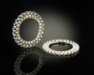 Pair of bangles (kada) in platinum, set with diamonds and pearls, Viren Bhagat, 2012. The Al-Thani Collection.