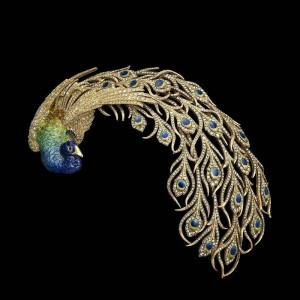 Peacok brooch in gold and enamel set with diamonds, Mellerio dits Meller, 1901. The Al Thani Collection
