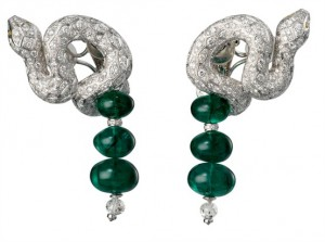 Snake earrings with emerald beads and diamonds, Cartier