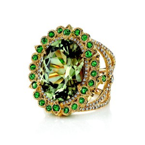 Empress ring set in yellow gold with zultanite and diamonds, Erica Courtney