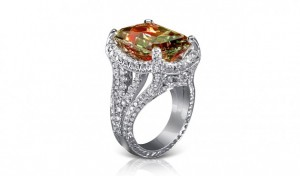 White gold ring with zultanite and diamonds, Jack Kelege