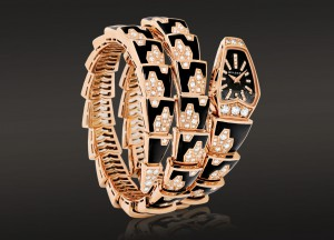 Iconic Serpenti bracelet-watch set in rose gold and enamel with diamonds, Bvlgari