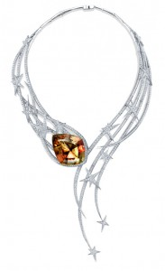 The Sultans Shield Couture collar set in white gold with diamonds pave' and pear-shaped zultanite, Stephen Webster