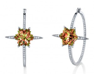 Couture hoop earrings set in white gold with diamonds pave' and snowflake cut zultanites, Stephen Webster
