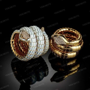 Coiled sprung bracelets set with enamels and brilliant-cut diamonds, Veschetti