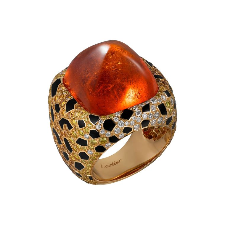 Etourdissant ring featuring an impressive sugar-loaf spessartite garnet, black lacquer, orange diamonds, yellow and white diamonds, Cartier