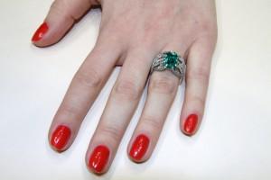 Scopello ring set in white gold with emerald, sapphires, amethysts, diamonds, Di Gregorio Gioielli