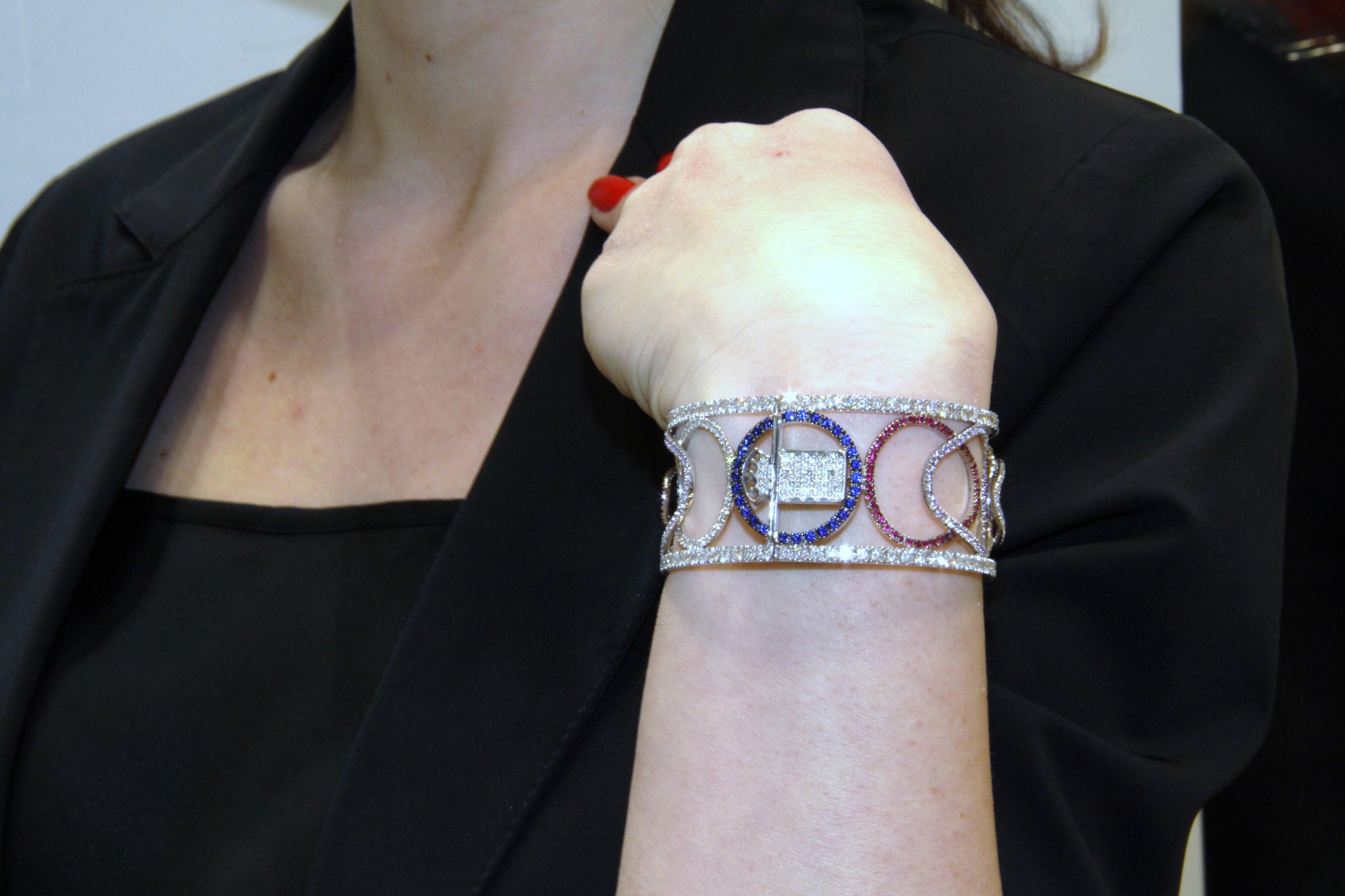 Taormina bracelet set in white gold with sapphires, rubies, diamonds, Di Gregorio Gioielli