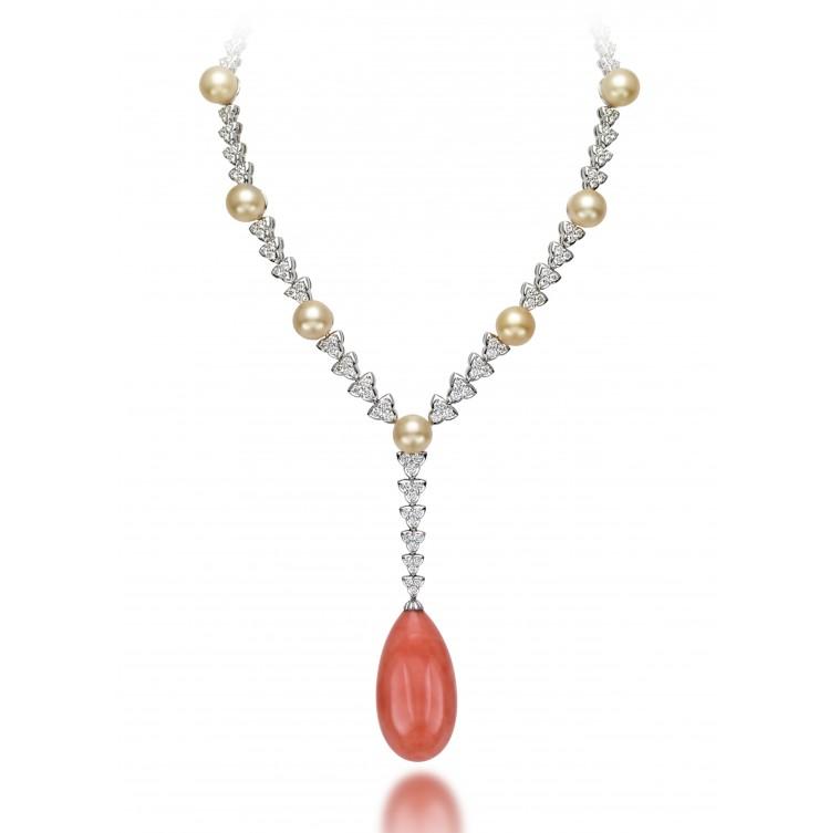 Essentially Colour Coral necklace set with round brilliant-cut diamonds, South Sea Cream pearls and pear-shape coral, Picchiotti