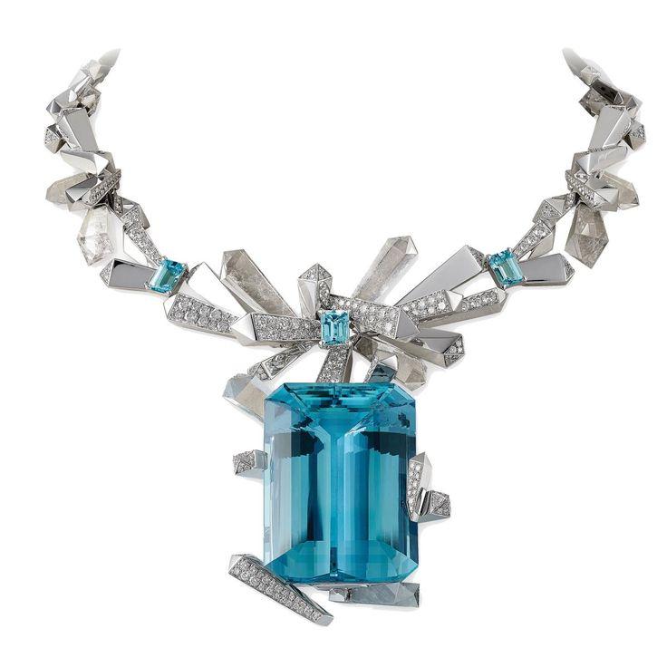 Glacier necklace with aquamarine and diamonds, Lorenz Baumer