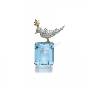 Bird on a Rock brooch with aquamarine and diamonds, by Jean Schlumberger for Tiffany