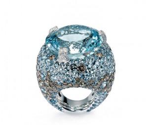 Melody of colours ring with aquamarine, chocolate diamonds, De Grisogono