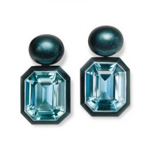 Earrings in aluminium with aquamarines, Hemmerle