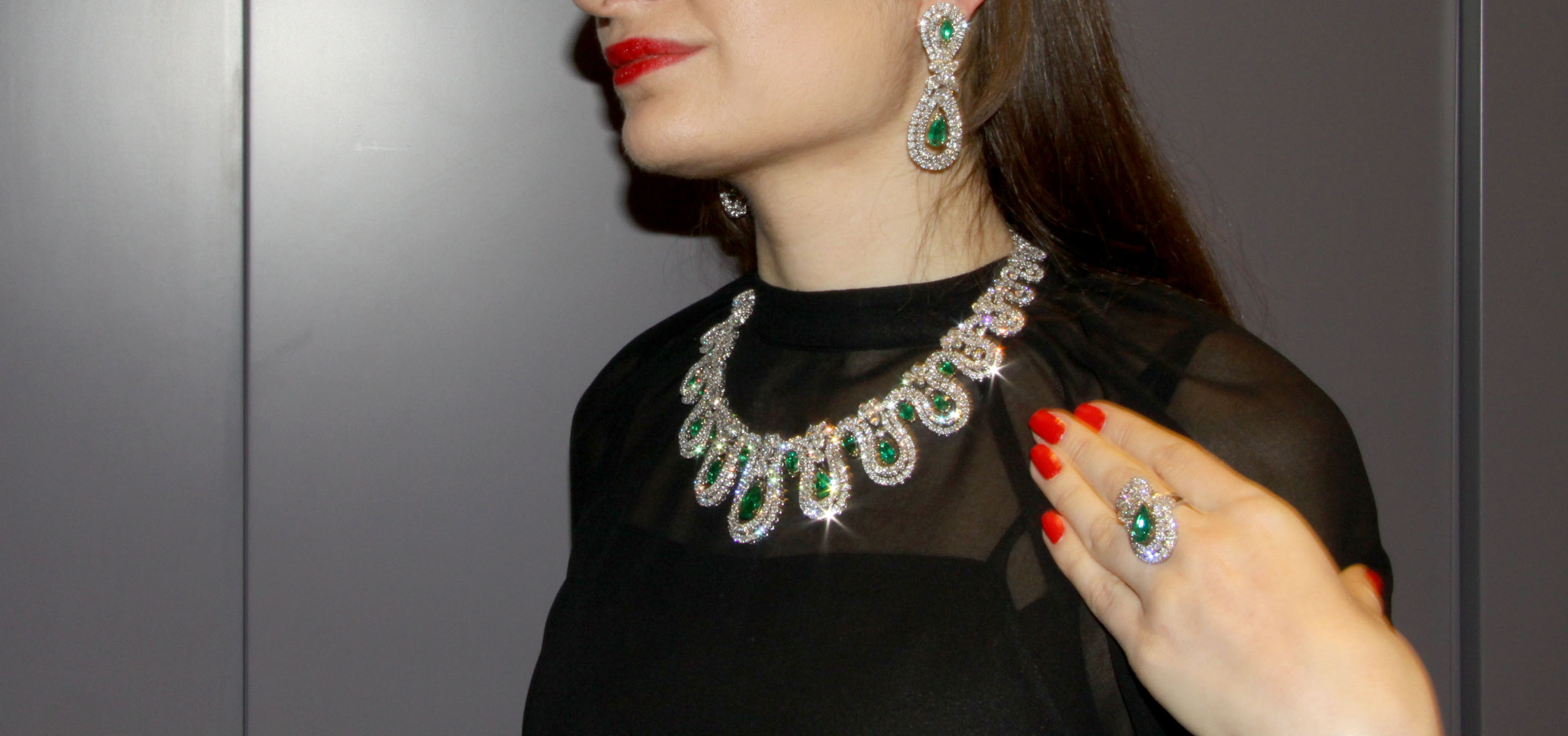 Emerald and diamond set, Istanboulli Gioielli